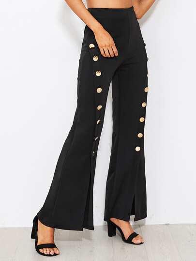 Button Embellished Split Flare Pants