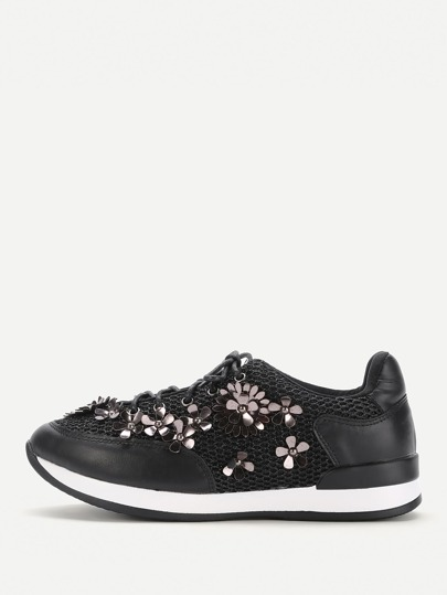 Flower Embellished Lace Up Trainers