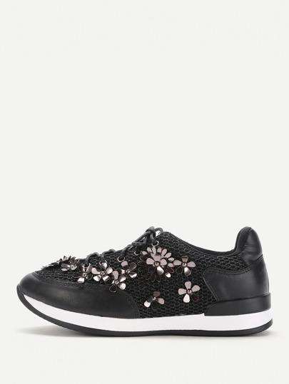 Zapatillas con adorno de flor con cordones