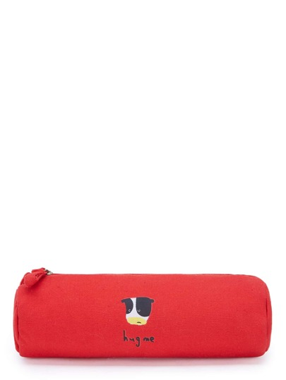Cartoon & Slogan Print Accessory Case