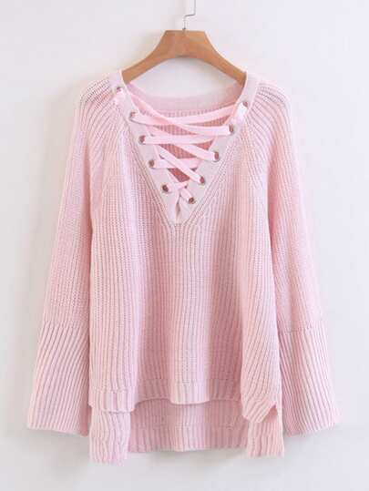 Lace Up V Neckline High Low Sweater