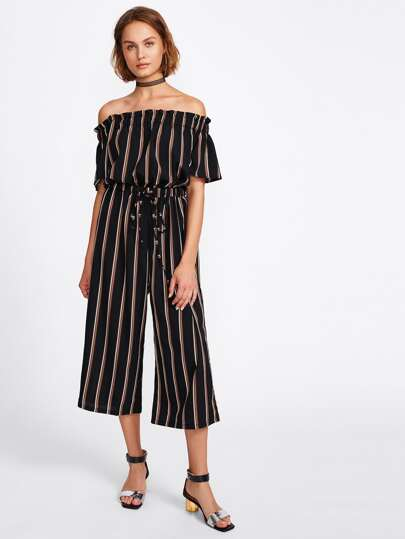 Drawstring Waist Bardot Striped Jumpsuit