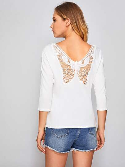 Hollow Out Butterfly Pattern Back Tee
