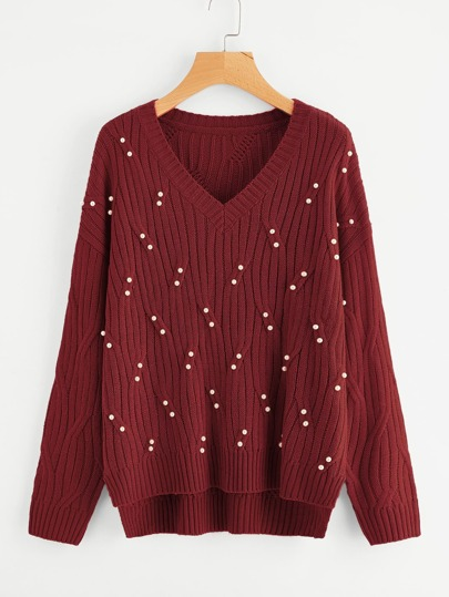 Pearl Beaded Dip Hem Textured Jumper