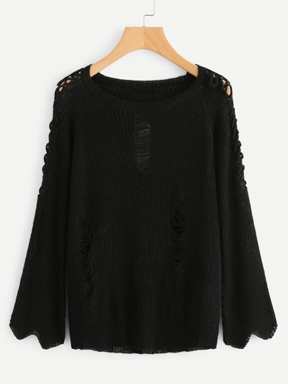 Criss manga cruzada rasgada suéter detalle