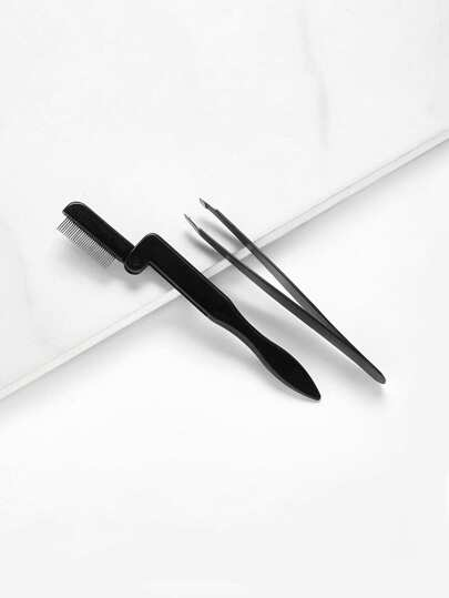 Eyebrow Comb & Slant Tweezer 2pcs