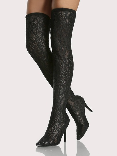Lace Point Toe Thigh High Boots BLACK