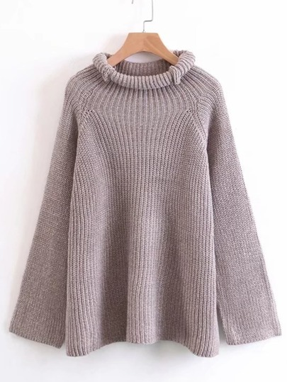 Rolled Neck Raglan Sleeve Sweater