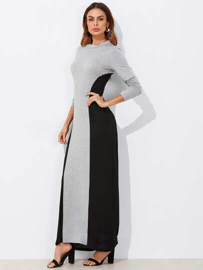 Two Tone Cut And Sew Full Length Dress