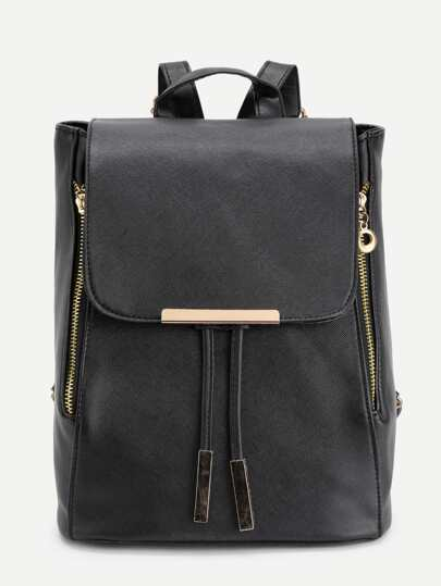 Metal Detail Double Zipper PU Backpack