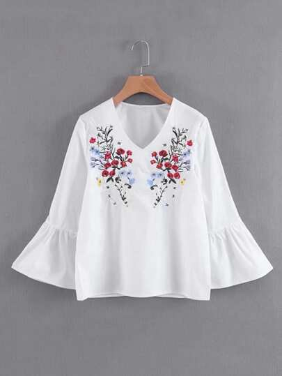 Embroidery Flower Flute Sleeve Blouse