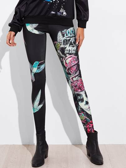 Halloween Abstract Skull Leggings