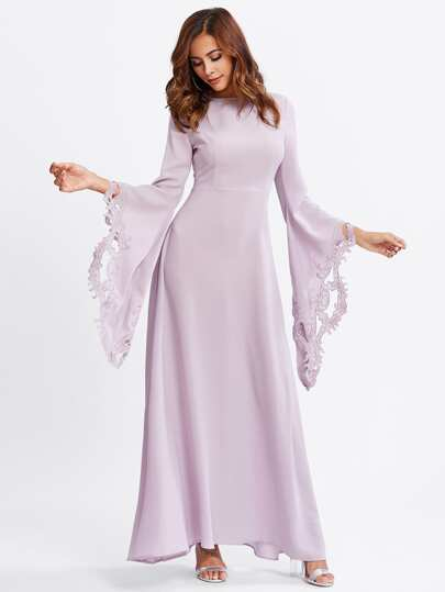Cutout Embroidered Exaggerate Sleeve Hijab Evening Dress
