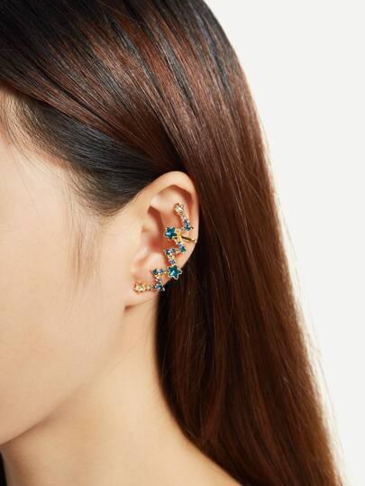 Boucles d\'oreille design de vague avec cristal 1 pièce