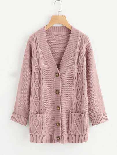Mixed Knit Roll Cuff Sweater Coat