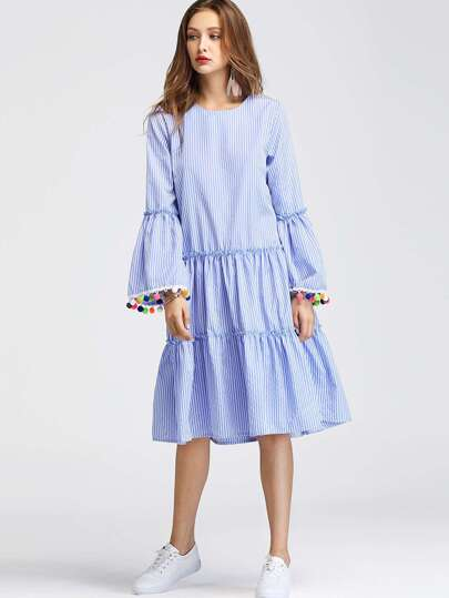 Pom Pom Trumpet Sleeve Tiered Pinstripe Dress