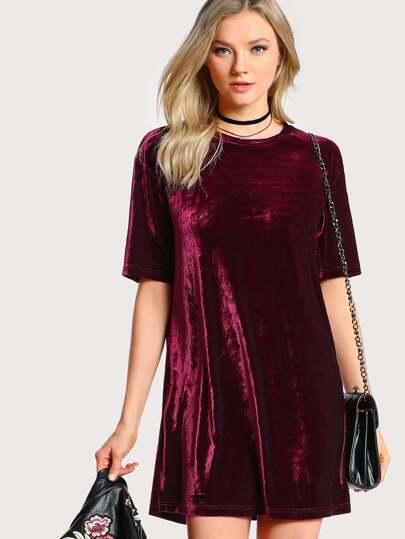 Crushed Velvet Tee Dress