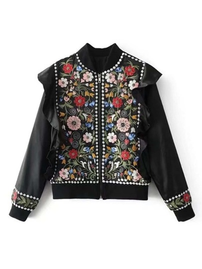 Ruffle Trim Embroidery Jacket