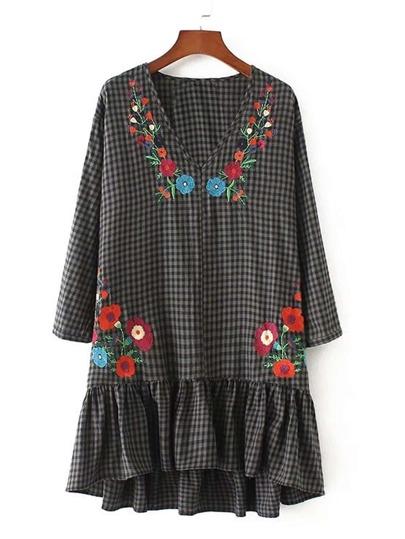 Embroidery Flower Drop Waist Gingham Dress