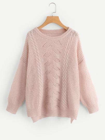 Pull tricoté divisé côté