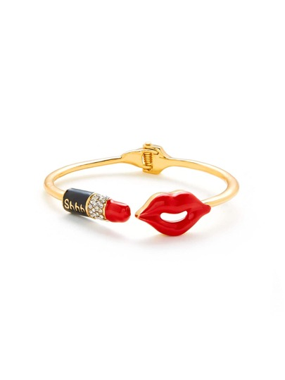 Lipstick And Lips Design Bangle Bracelet
