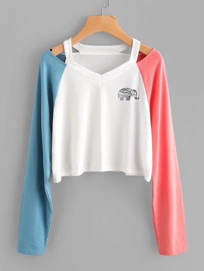 Cut Out Neck Contrast Sleeve Elephant Print T-shirt