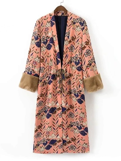 Contrast Faux Fur Cuff Split Back Longline Kimono