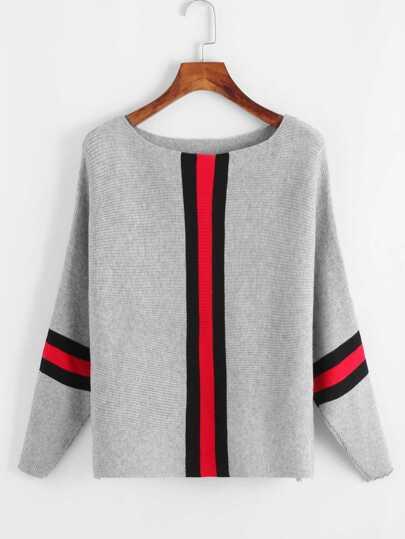 Pull découpé en tricot à rayures contrastées