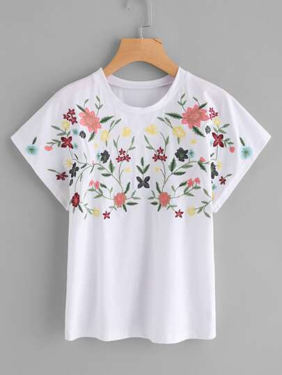 Botanical Embroidered Dolman Sleeve Tee
