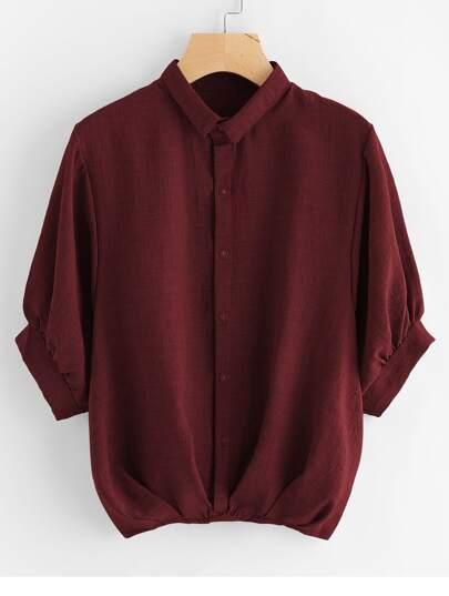 Lantern Sleeve Pleated Detail Shirt