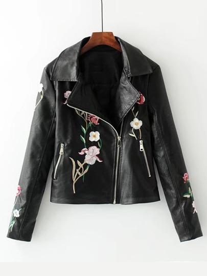 Flower Embroidery Oblique Zipper Biker Jacket