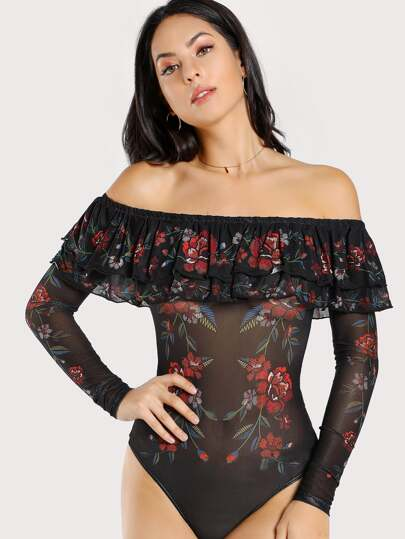 Off SHoulder Floral Print Mesh Bodysuit BLACK