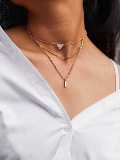 Rhinestone Bar Pendant Chain Necklace