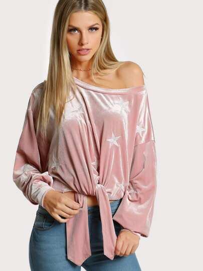 Star Embroidered Asymmetric Shoulder Velvet Pullover