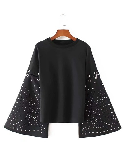 Studded Detail Oversized Sleeve Ring Linked Sweatshirt