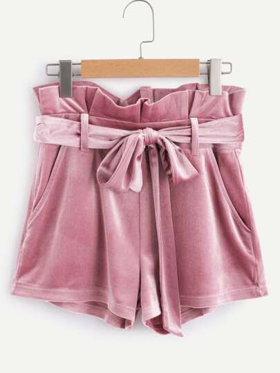 Self Belted Frilled Waist Velvet Shorts