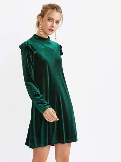 Mock Neck Frill Detail Velvet Dress