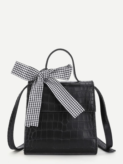 Bow Tie Crocodile Print Crossbody Bag
