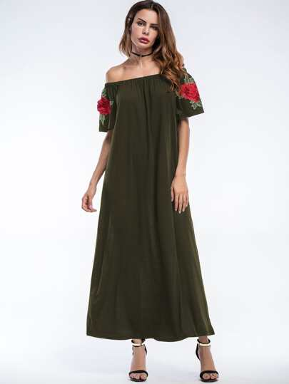 Bardot Embroidered Appliques Longline Dress