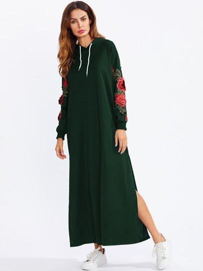 Split Side Applique Hooded Sweatshirt Dress