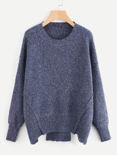 Seam Detail Slit Back Slub Sweater