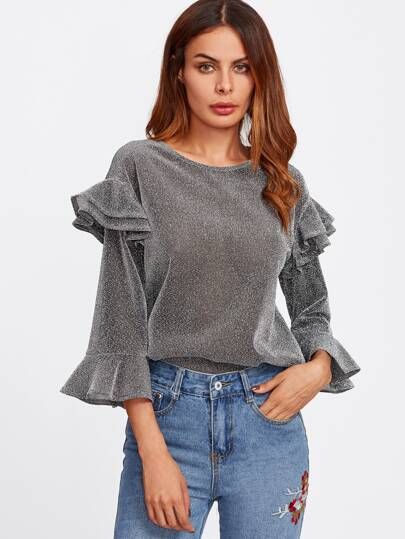 Tiered Ruffle Bell Sleeve Glitter Top