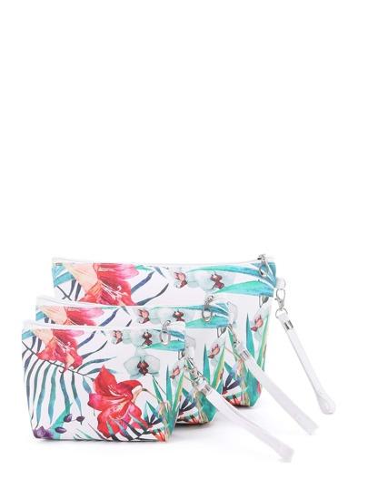 Flower Print Makeup Bag 3pcs