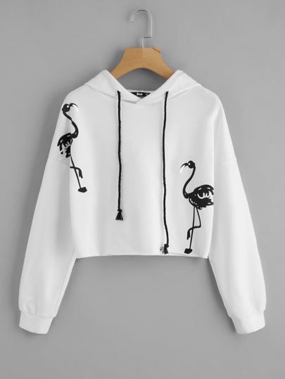 Flamingo Print Drop Shoulder Hoodie