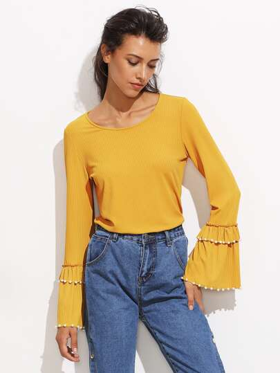 Pearl Beading Layered Bell Cuff Ribbed Top