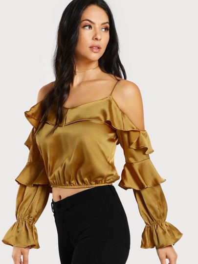 Bardot Sleeve Ruffle Hem Satin Crop Top MUSTARD