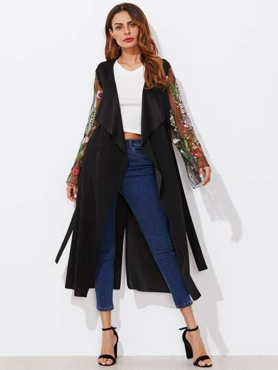 Wrap Coat With Embroidered Mesh Fluted Sleeve