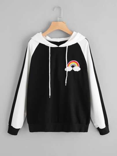 Two Tone Hoodie With Rainbow Embroidered Patch