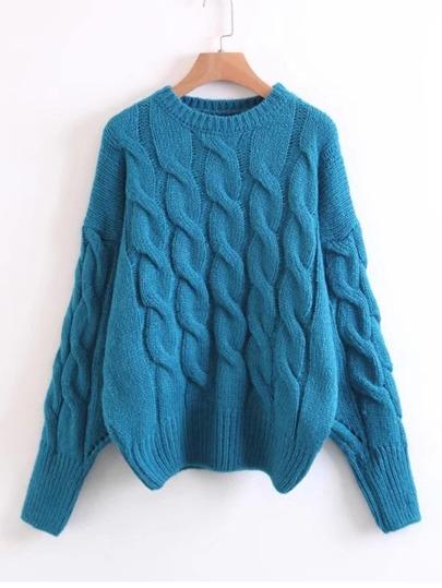 Cable Knit Drop Shoulder Sweater