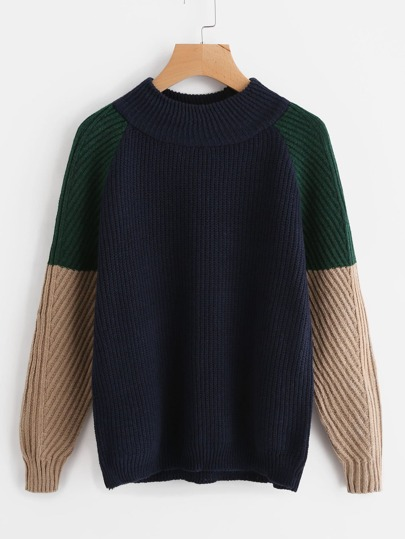 Contrast Raglan Sleeve Sweater